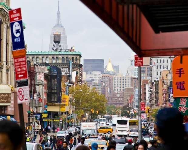 Looking up the Bowery from Chinatown, New York.