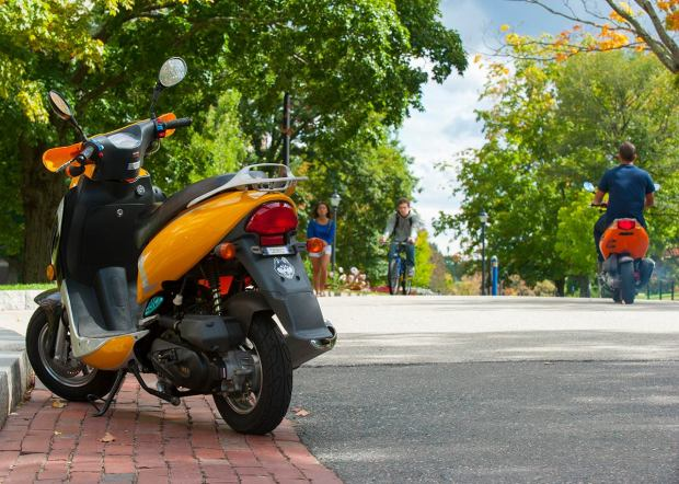 Mopeds are an increasingly popular way for students to get around campus.